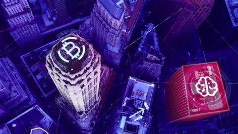 Aerial of New York internet AI bitcoin bank security network, connecting buildings. 4K