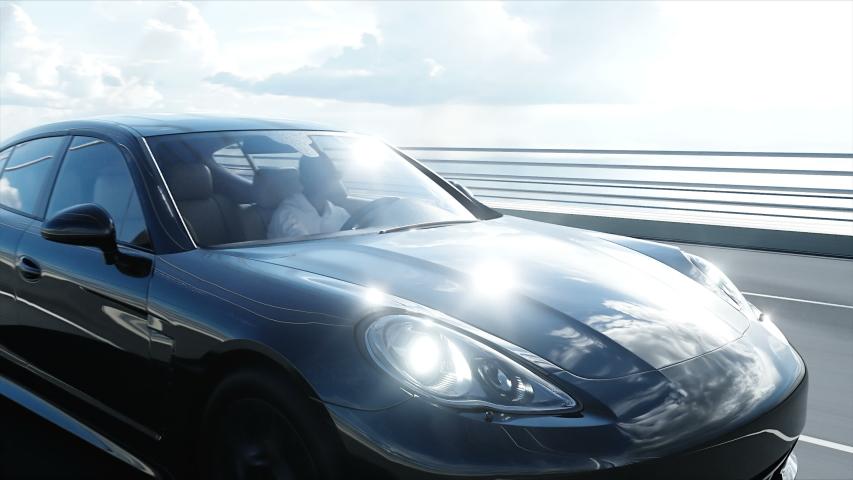 3d model of black sport car on the bridge. Very fast driving. realistic 4K animation. | Shutterstock HD Video #1030085768