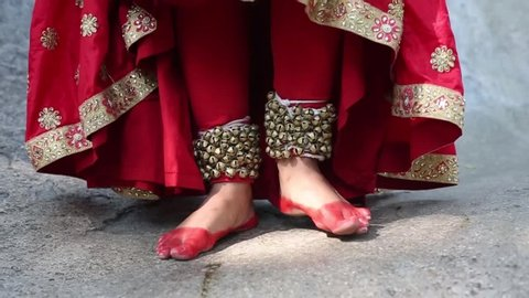 Indian classical Kathak dancer wearing ghungroo Closeup on the feet