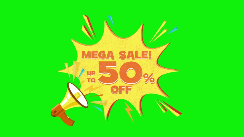 Mega sale text up to 50% off megaphone flying 3d animation on green screen  | Shutterstock HD Video #1030133348