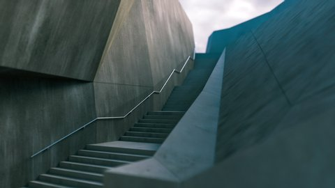 Camera movement along stairs that lead up to the sky. Stairway to heaven. The camera moves along the concrete steps.