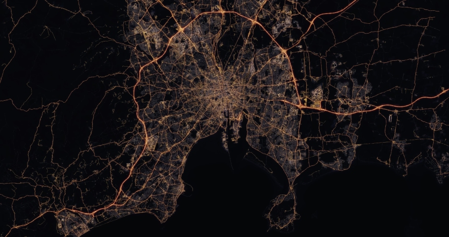 Aerial night view of city of Dublin Ireland. Traffic and street light glowing. Camera flying high above. Zooming in city district and rotating cinematic filming straight down. 3d animation rendering. | Shutterstock HD Video #1030148558