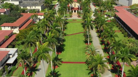 Miami, fl, usa - may 23, 2019: aerial motion footag of barry university  florida