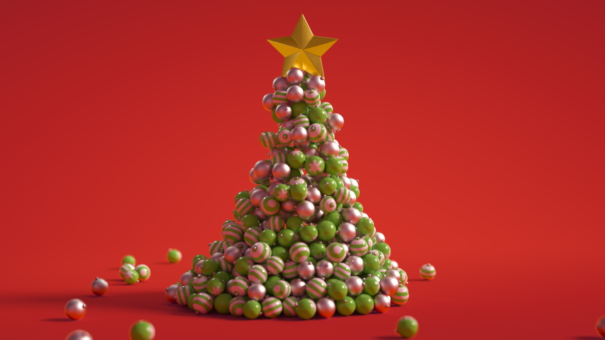 3D Christmas Tree Animation 4K with copy space on red. Xmas tree baubles animate to form Christmas Tree. Add your message or copy