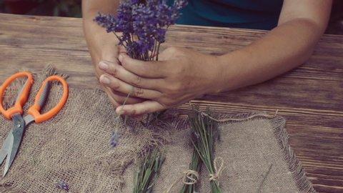 woman herbalist hands binding lavender bunch