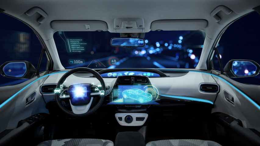 Cockpit of an autonomous car. Driverless vehicle. | Shutterstock HD Video #1030392788