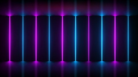 Neon background. Purple and blue neon background shimmers on black background. Bright live neon background. 4K seamless pattern