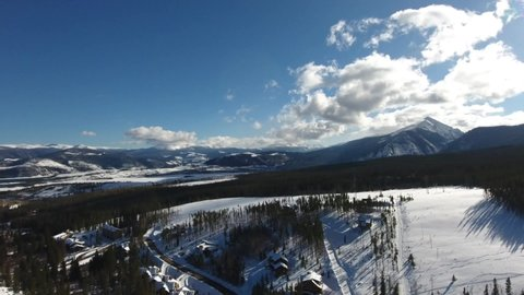 On the edge of the snow-covered Arapaho National Forest in Silverthorne, Colorado