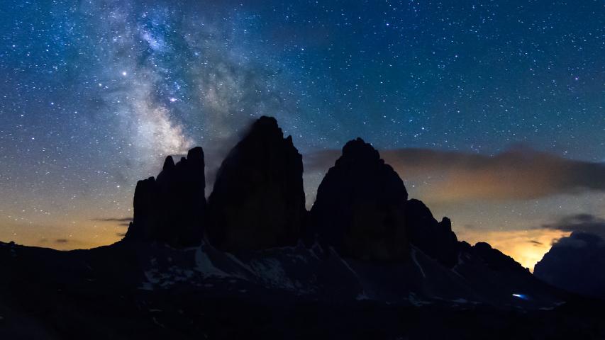 4K Time lapse of Milky way over Tre Cime di Lavaredo, Dolomites, Italy | Shutterstock HD Video #1030543868