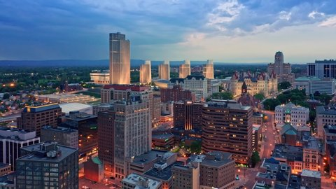 Drone footage of Albany, New York downtown at dusk, with rotating camera motion. Albany is the capital city of the U. S. state of New York and the county seat of Albany County
