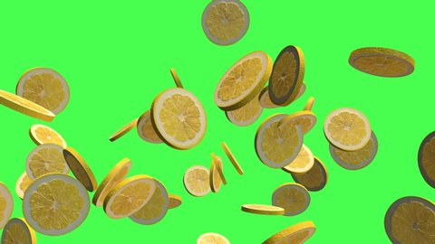 Yellow Lemon fruits 3D element, two video transitions isolated on a green screen ready to chroma key incrustation, footage 4K