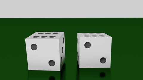 White dice roll towards camera on green table, land on sixes