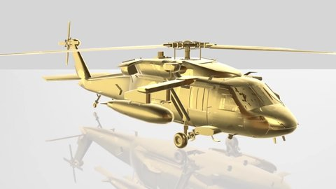 3D Rendering,Gold Helicopter animation on white