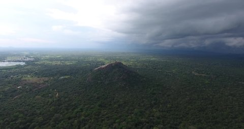 Aerial View of Pindurangala from Sigiriya. Sinhagiri is an ancient rock fortress located in the northern Matale District near the town of Dambulla in the Central Province.
