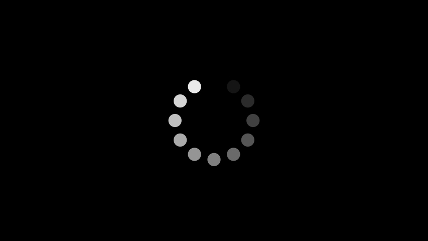 Loop of white loading circle made of dots that fade away as it turns  #1030812398