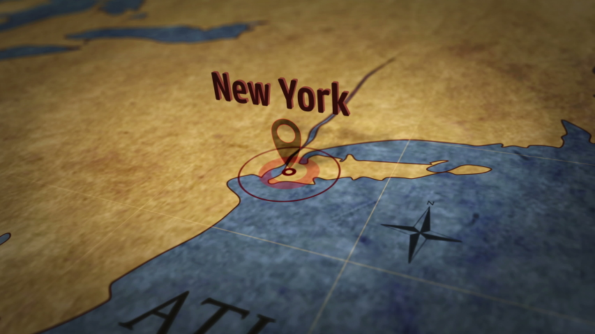 New York on simple retro paper map. 3D flight over atlas chart with city marked by pushpin.