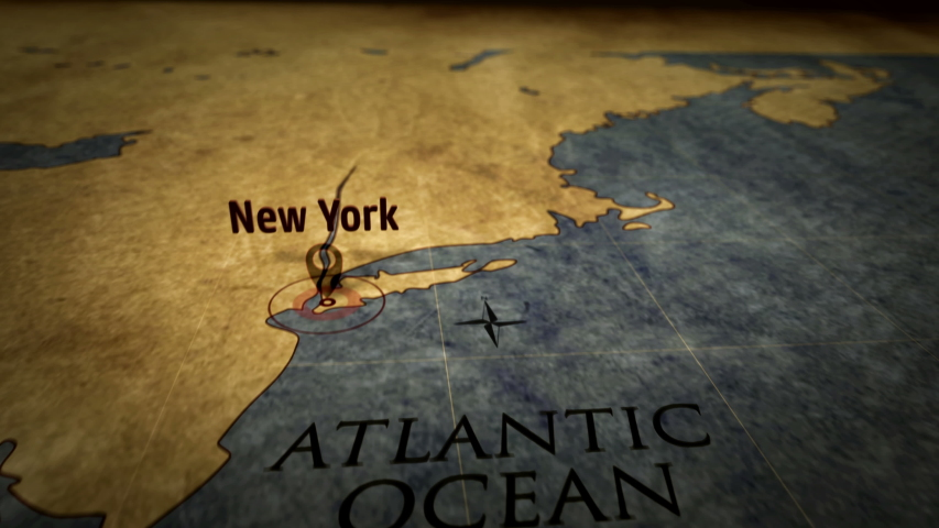New York city on retro map. Fast flight over old atlas chart with NYC marked by pushpin. Vintage texture maps 3D animation.