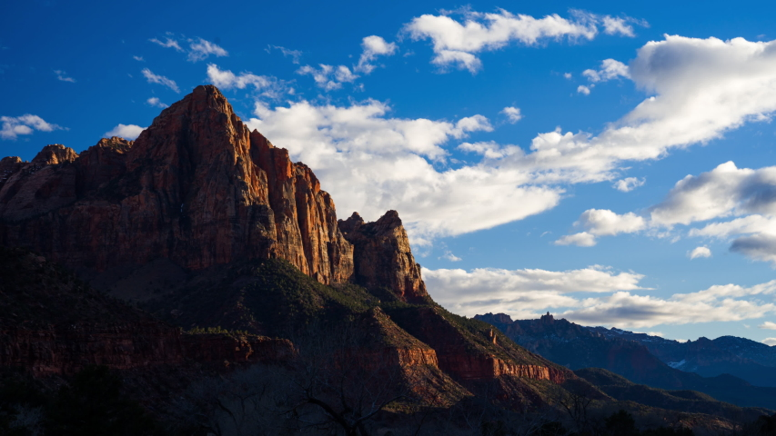 4K Time lapse of Watchman viewpoint, Zion National Park, Utah, USA | Shutterstock HD Video #1030871108