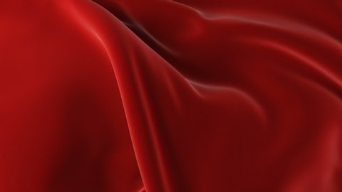 Red Waving Cloth Flying Away Opening Background. Abstract Wavy Silk Textile Transition 3d Animation.