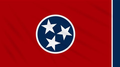 Tennessee flag flutters in the wind, loop for background.
