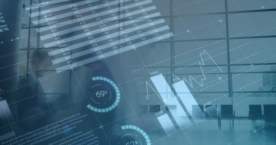Digital animation of different graphs move in the screen while background shows a time lapse of people in an office   Shutterstock HD Video #1030971458