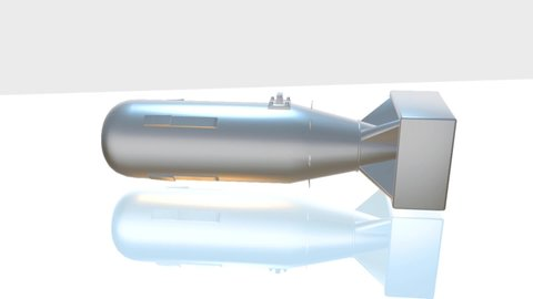 3D Rendering.Metal Atom Bomb on background animation