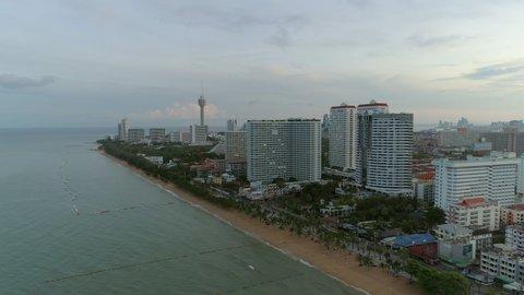 Aerial view at Jomtien beach on sunrise in Pattaya