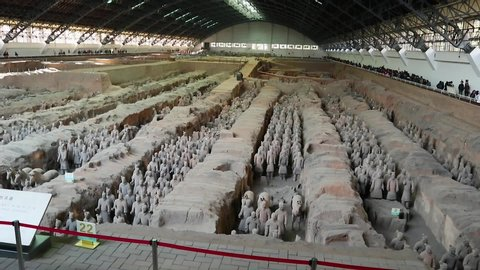XIAN – JAN 11, 2019: exhibition of the famous Chinese Terracotta Warriors in Xian of Shaanxi Province China. The Terracotta are made in 210-209 BCE
