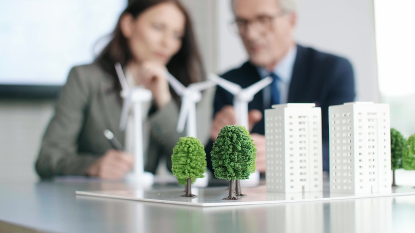 View of architectural model on the office table | Shutterstock HD Video #1031102978