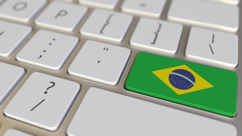 Key with flag of Brazil on the keyboard switches to key with flag of Germany, translation or relocation related animation