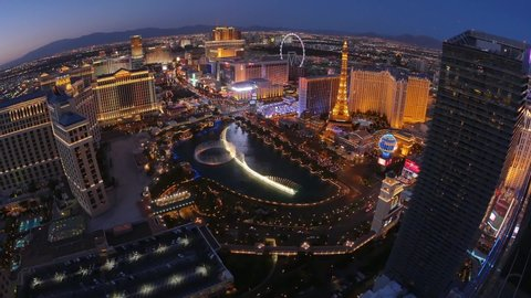 las vegas circa a unique evening aerial establishing shot of the las vegas strip with the bellagio fountains in the foreground