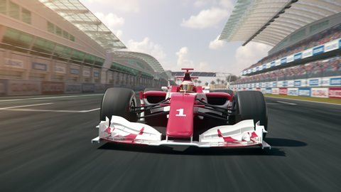 Generic formula one race car driving along the homestretch over the finish line - dynamic front view camera - realistic high quality 3d animation - my own car design