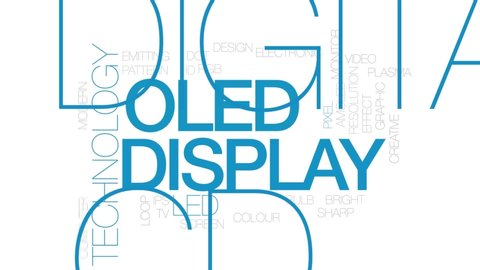 OLED display animated word cloud, text design animation. Kinetic typography.