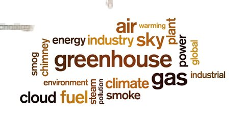 4k Greenhouse Gas Animated Tag Word Cloud,Text Design Animation,Kinetic Typography.