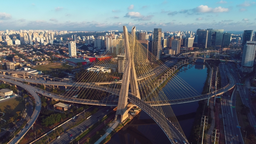 Estaiada's bridge aerial view. São Paulo, Brazil. Business center. Financial Center. Great landscape. Famous cable-stayed bridge of Sao Paulo. Landmark of the city.