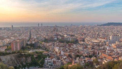 Barcelona Spain time lapse 4K, aerial view city skyline timelapse from Bunkers del Carmel