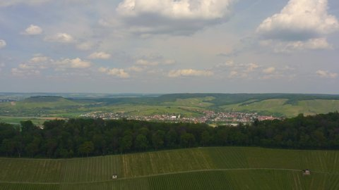Aerial of vineyards around Heilbronn in Germany, with pan along the hill top of Wartenberg