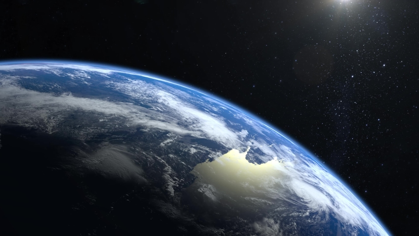 Earth from space. The camera is approaching Earth. Stars twinkle. The horizon is turned to the right. 4K. Realistic atmosphere. 3D Volumetric clouds. | Shutterstock HD Video #1031453018