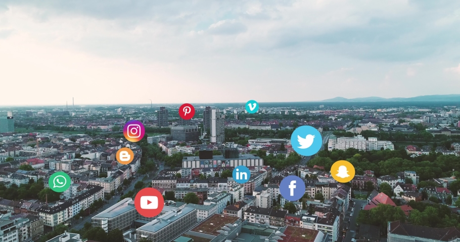 Mannheim, Baden Württemberg / Germany - 05 22 2019: Aerial Cityscape View with Top Social Media Icons  | Shutterstock HD Video #1031491388