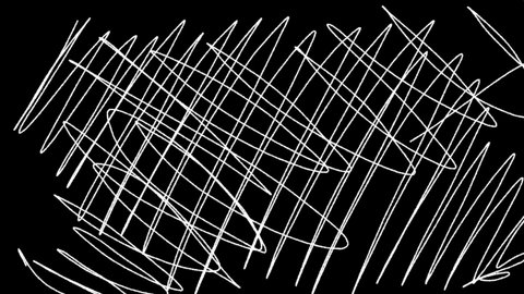 Random chaotic curves on black background. Hand drawn dinamic scrawls. These hand-drawn scribbles, doodles can be used as Luma Mattes  for videotransitions.
