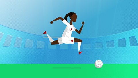 Canada female world cup soccer player running with a ball in a stadium. Loopable clip in 4K with alpha channel to use player on different backgrounds