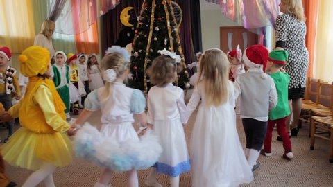 New Year performance in kindergarten,22.12. 2016 Ukraine Lviv the children dance around the Christmas tree