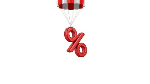 percent and parachute on white background. Isolated 3D illustration