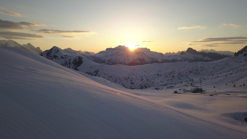 Spectacular drone aerial video of sunset in Dolomites near Cortina D'Ampezzo.   Shutterstock HD Video #1032105248