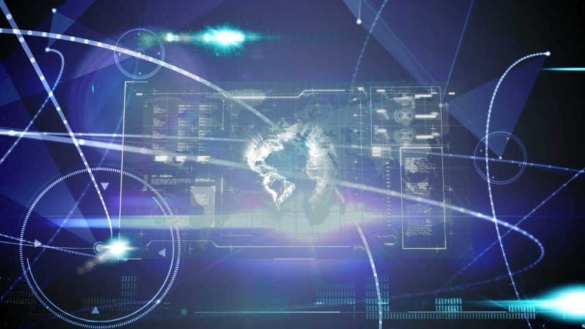 Digital animation of a screen filled with interface codes and graphs. The background has glowing light effects. Interface showing globe and information. | Shutterstock HD Video #1032117638