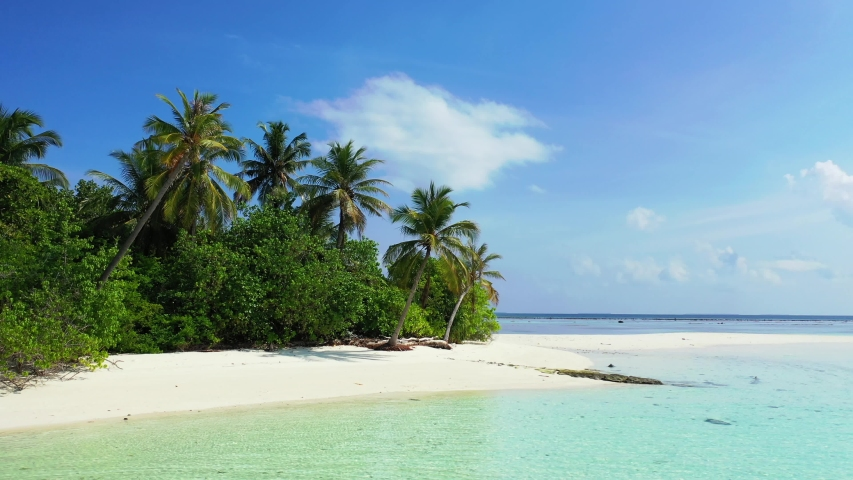 Drone aerial footage of tropical island with palms and white sand beach with small ocean turquise waves coating it caribbean | Shutterstock HD Video #1032224348