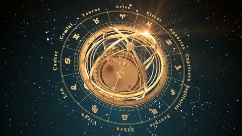 4K. Zodiac Signs and Armillary Sphere On Blue Background. Seamless Looped. 3D Animation.