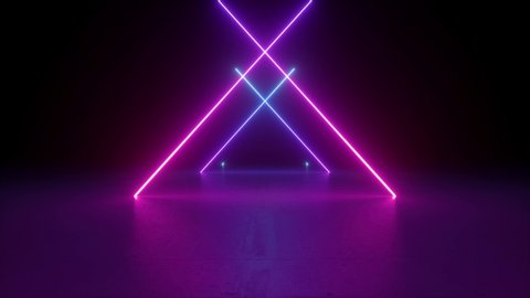 abstract neon background, flying back through triangular corridor, appearing glowing pink blue crossed lines, ultraviolet spectrum
