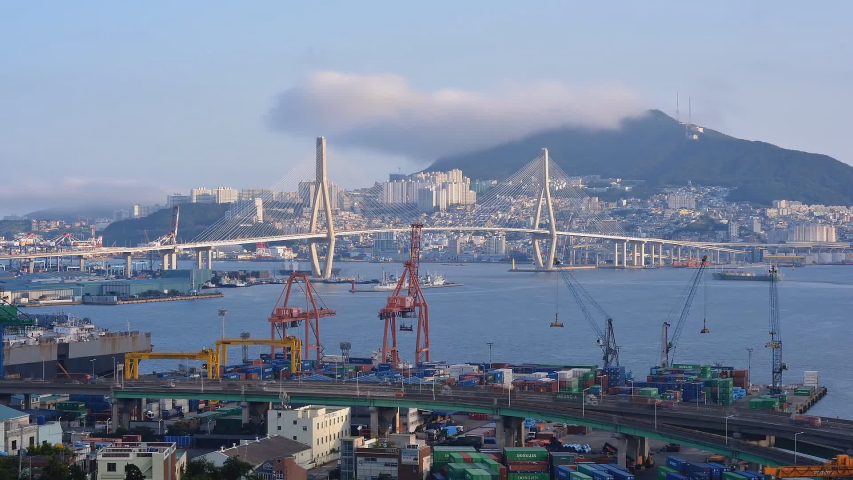 South Korea, Pusan city, view of the seaport (time-lapse) | Shutterstock HD Video #1032432788