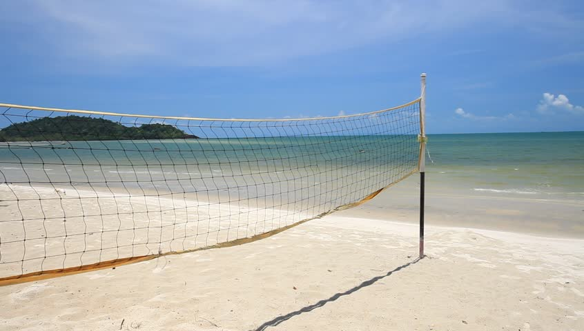A Beach Volleyball Net On Nice With Clear And Sunny Day In Trat Thailand